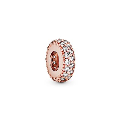 Abstract PANDORA Rose pave spacer with clear cubic zirconia