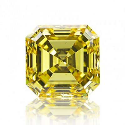 Moissanite Fancy Light Yellow Asscher