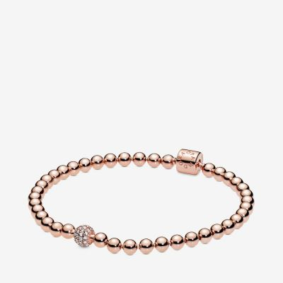 Beads & Pavé Bracelet rose gold