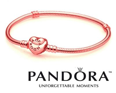 pandora rose gold plated moments heart clasp bracelet